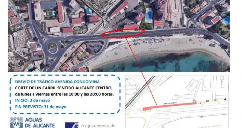 Corte de tráfico en la Av.Condomina por obras de Aguas de Alicante