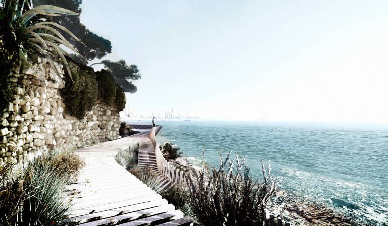 simulación del paseo litoral al paso de los chalets en La Albufereta